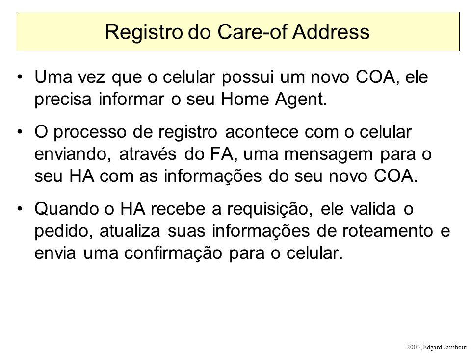 2005, Edgard Jamhour Registro do Care-of Address Uma vez que o celular possui um novo COA, ele precisa informar o seu Home Agent. O processo de regist