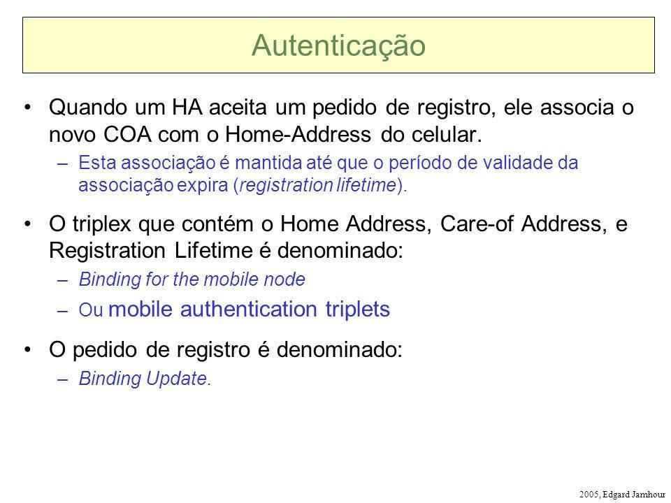 2005, Edgard Jamhour Autenticação Quando um HA aceita um pedido de registro, ele associa o novo COA com o Home-Address do celular. –Esta associação é