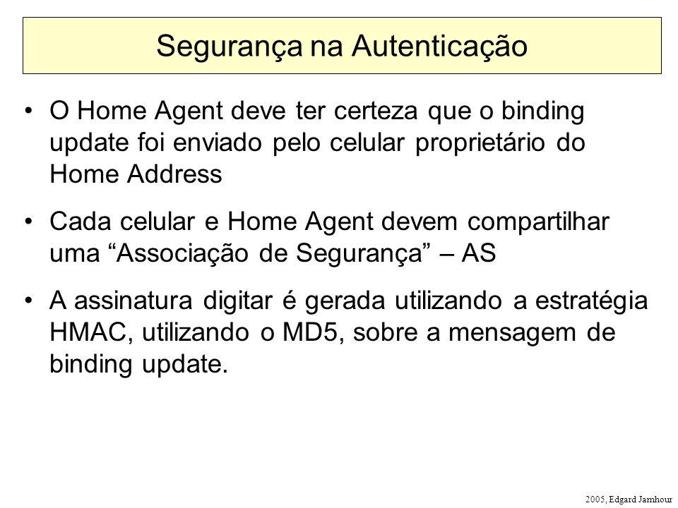 2005, Edgard Jamhour Segurança na Autenticação O Home Agent deve ter certeza que o binding update foi enviado pelo celular proprietário do Home Addres