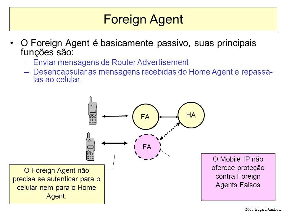 2005, Edgard Jamhour Foreign Agent O Foreign Agent é basicamente passivo, suas principais funções são: –Enviar mensagens de Router Advertisement –Desencapsular as mensagens recebidas do Home Agent e repassá- las ao celular.