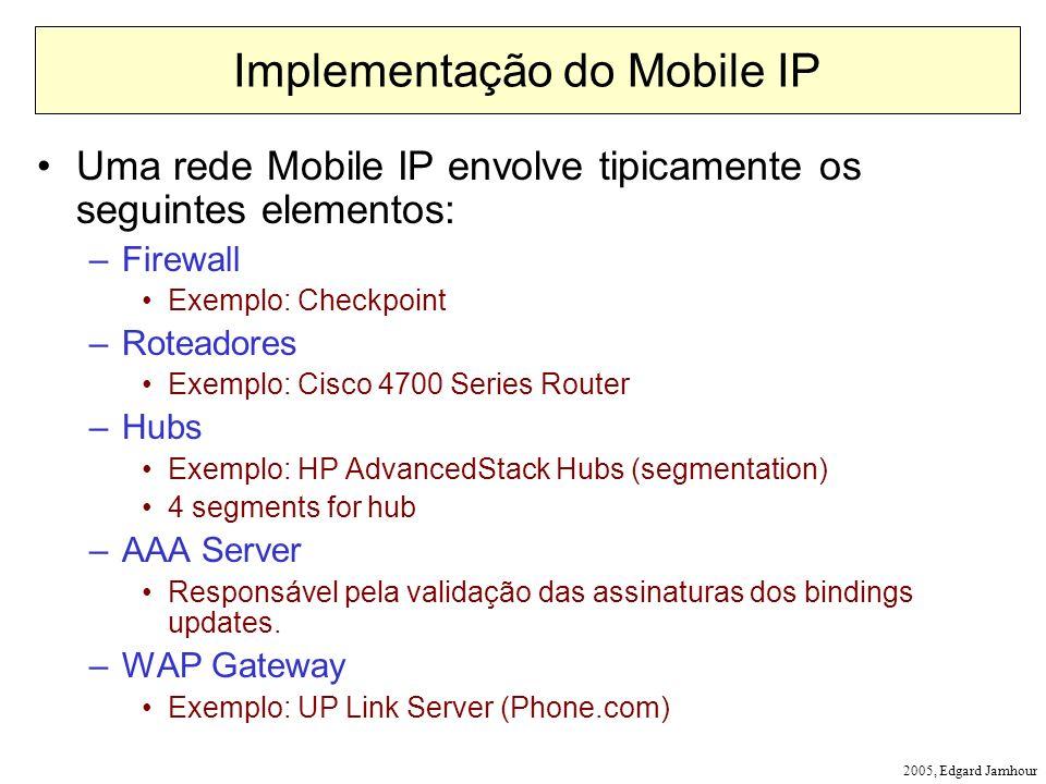 2005, Edgard Jamhour Implementação do Mobile IP Uma rede Mobile IP envolve tipicamente os seguintes elementos: –Firewall Exemplo: Checkpoint –Roteadores Exemplo: Cisco 4700 Series Router –Hubs Exemplo: HP AdvancedStack Hubs (segmentation) 4 segments for hub –AAA Server Responsável pela validação das assinaturas dos bindings updates.