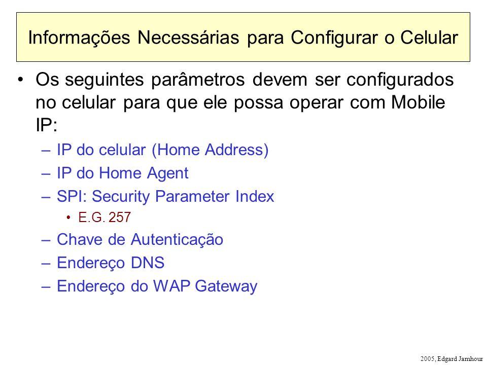2005, Edgard Jamhour Informações Necessárias para Configurar o Celular Os seguintes parâmetros devem ser configurados no celular para que ele possa operar com Mobile IP: –IP do celular (Home Address) –IP do Home Agent –SPI: Security Parameter Index E.G.