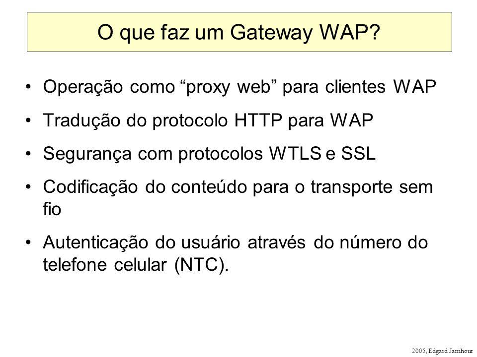 2005, Edgard Jamhour O que faz um Gateway WAP? Operação como proxy web para clientes WAP Tradução do protocolo HTTP para WAP Segurança com protocolos
