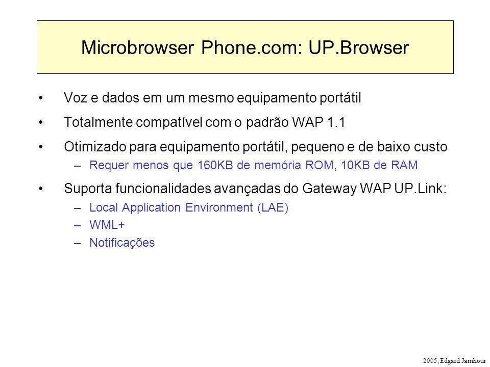 2005, Edgard Jamhour Microbrowser Phone.com: UP.Browser Voz e dados em um mesmo equipamento portátil Totalmente compatível com o padrão WAP 1.1 Otimiz