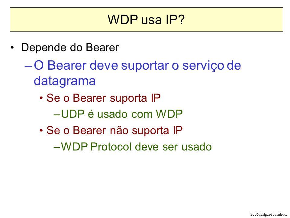 2005, Edgard Jamhour WDP usa IP? Depende do Bearer –O Bearer deve suportar o serviço de datagrama Se o Bearer suporta IP –UDP é usado com WDP Se o Bea