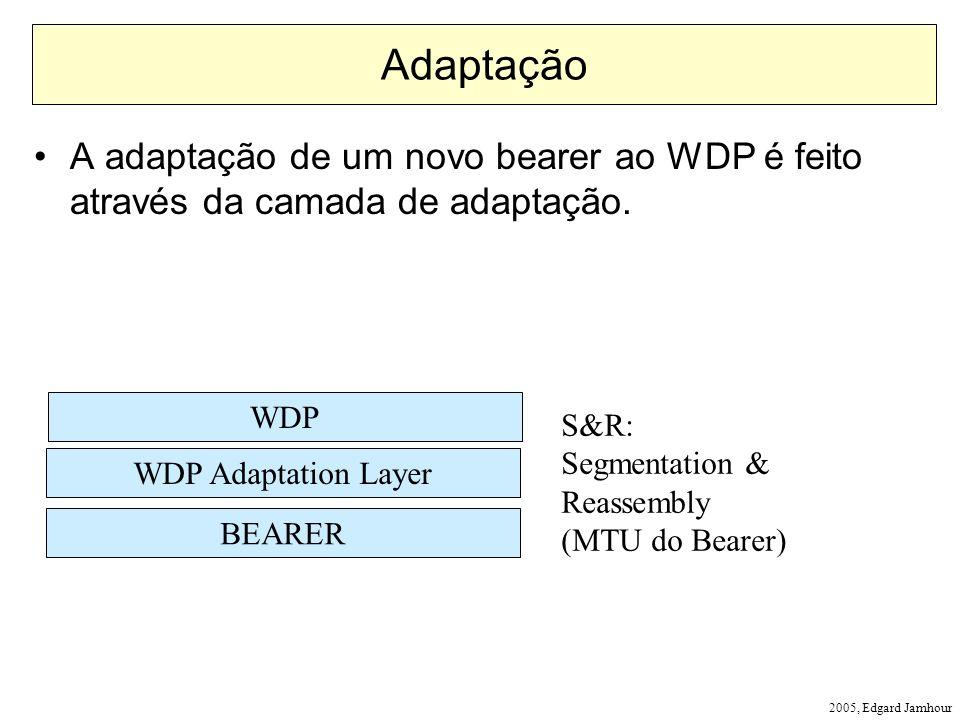 2005, Edgard Jamhour Adaptação A adaptação de um novo bearer ao WDP é feito através da camada de adaptação. BEARER WDP Adaptation Layer WDP S&R: Segme