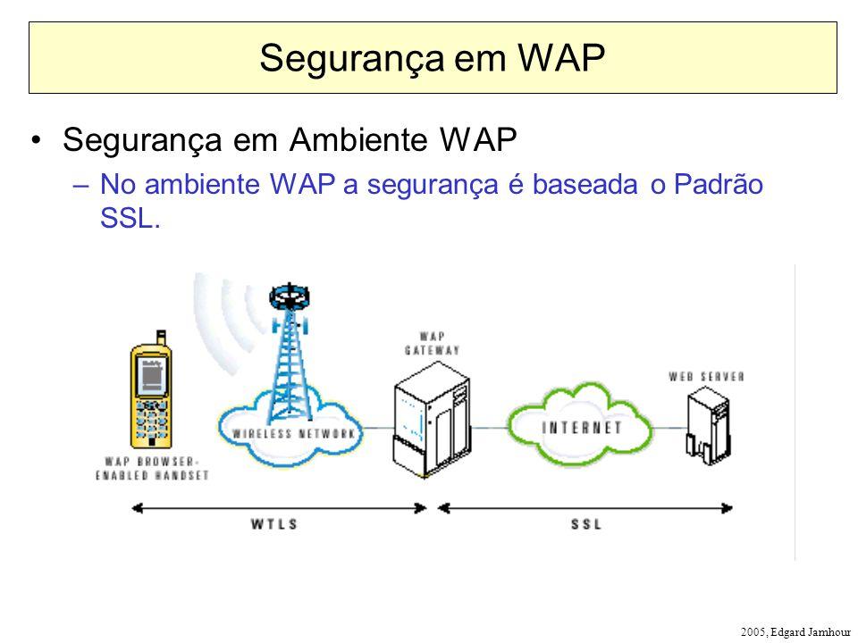 2005, Edgard Jamhour Segurança em WAP Segurança em Ambiente WAP –No ambiente WAP a segurança é baseada o Padrão SSL.