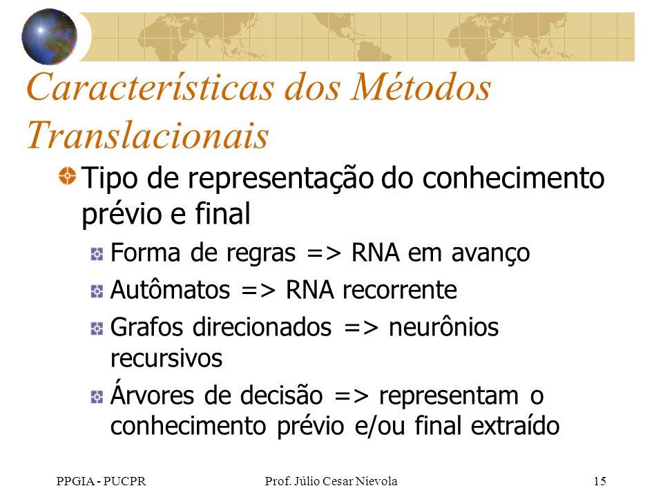 PPGIA - PUCPRProf. Júlio Cesar Nievola15 Características dos Métodos Translacionais Tipo de representação do conhecimento prévio e final Forma de regr