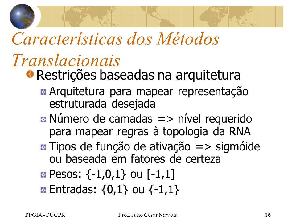 PPGIA - PUCPRProf. Júlio Cesar Nievola16 Características dos Métodos Translacionais Restrições baseadas na arquitetura Arquitetura para mapear represe