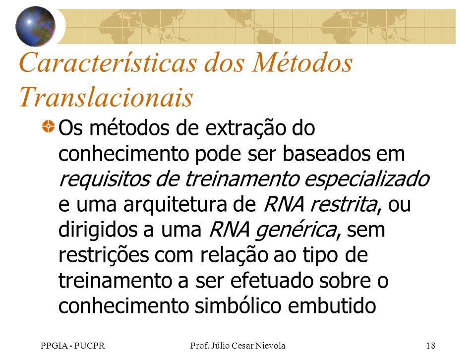 PPGIA - PUCPRProf. Júlio Cesar Nievola18 Características dos Métodos Translacionais Os métodos de extração do conhecimento pode ser baseados em requis