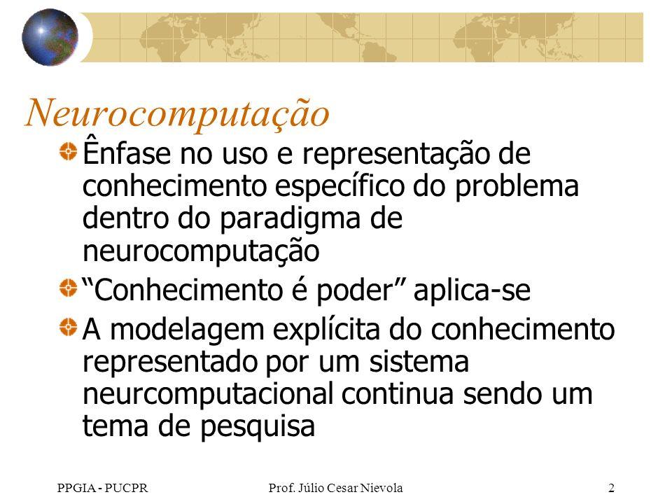 PPGIA - PUCPRProf. Júlio Cesar Nievola2 Neurocomputação Ênfase no uso e representação de conhecimento específico do problema dentro do paradigma de ne