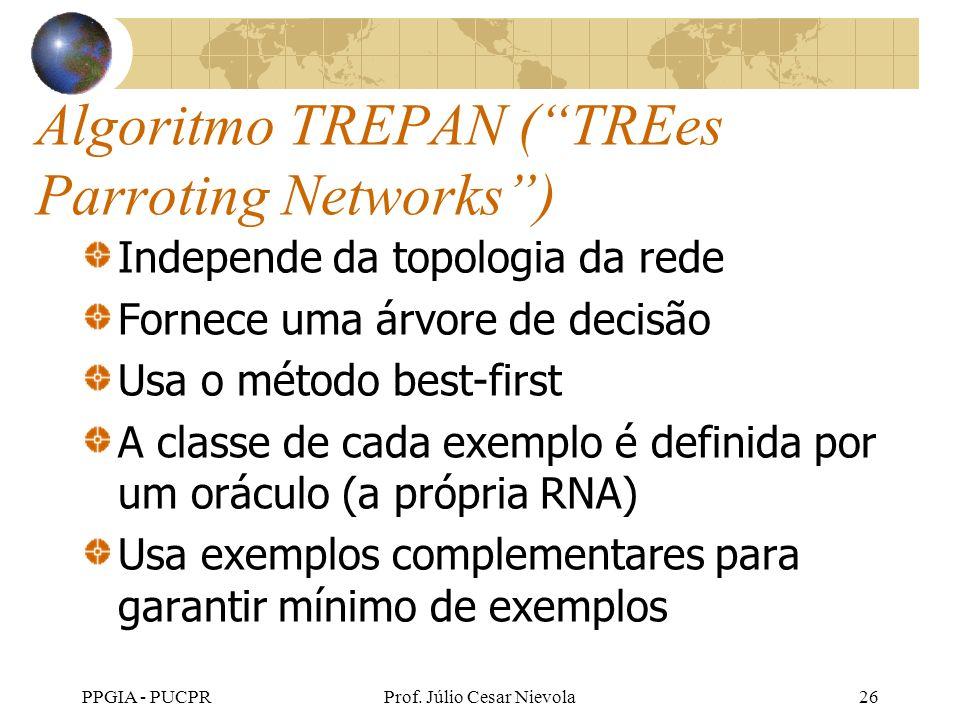 PPGIA - PUCPRProf. Júlio Cesar Nievola26 Algoritmo TREPAN (TREes Parroting Networks) Independe da topologia da rede Fornece uma árvore de decisão Usa