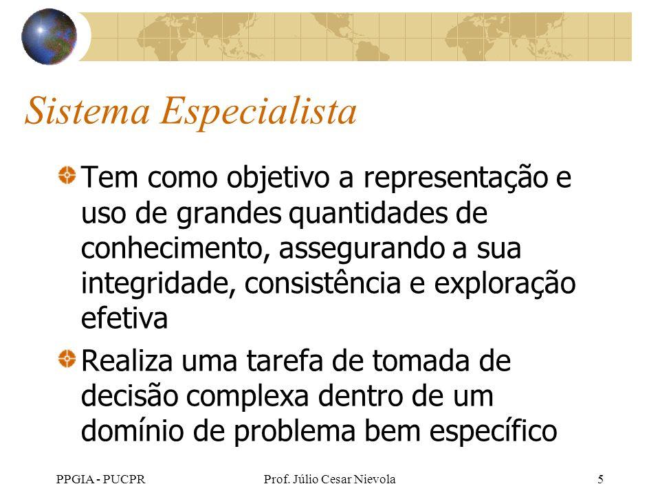 PPGIA - PUCPRProf. Júlio Cesar Nievola5 Sistema Especialista Tem como objetivo a representação e uso de grandes quantidades de conhecimento, asseguran