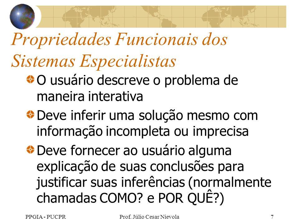 PPGIA - PUCPRProf. Júlio Cesar Nievola7 Propriedades Funcionais dos Sistemas Especialistas O usuário descreve o problema de maneira interativa Deve in