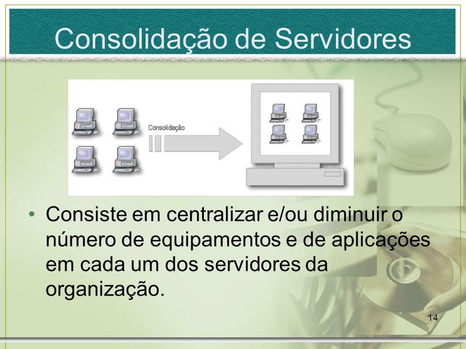 14 Consolidação de Servidores Consiste em centralizar e/ou diminuir o número de equipamentos e de aplicações em cada um dos servidores da organização.