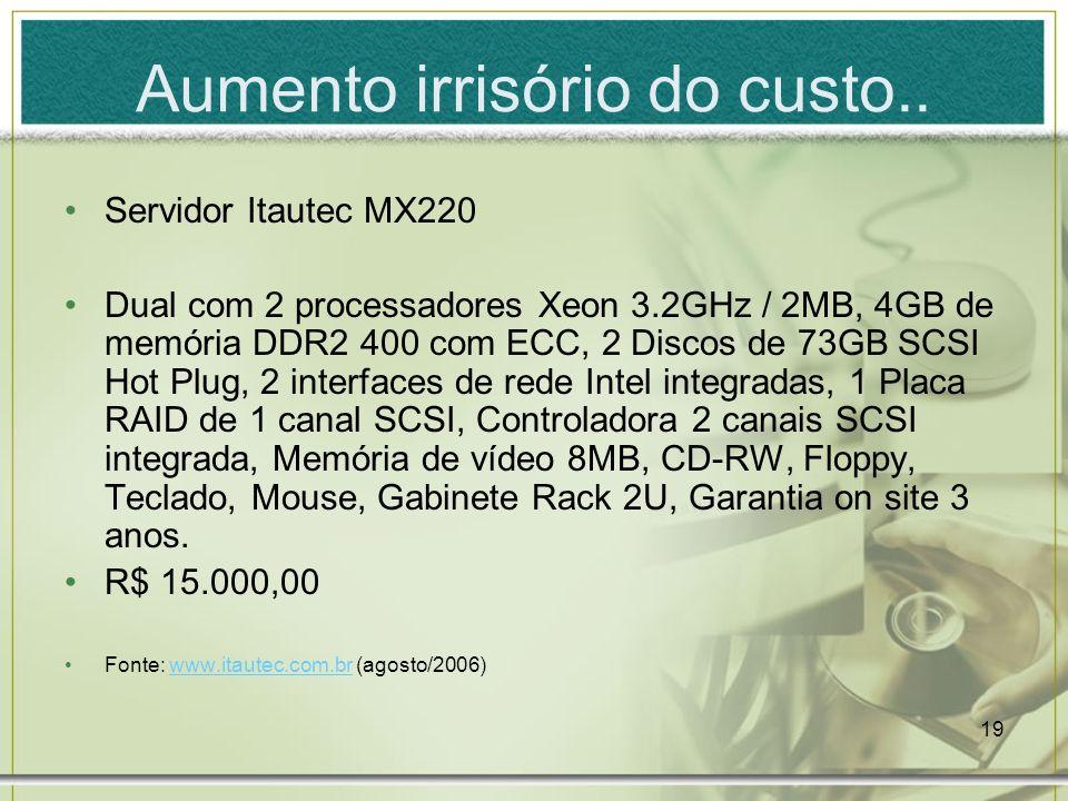 19 Aumento irrisório do custo.. Servidor Itautec MX220 Dual com 2 processadores Xeon 3.2GHz / 2MB, 4GB de memória DDR2 400 com ECC, 2 Discos de 73GB S