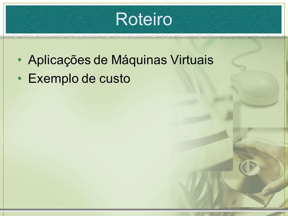 Roteiro Aplicações de Máquinas Virtuais Exemplo de custo