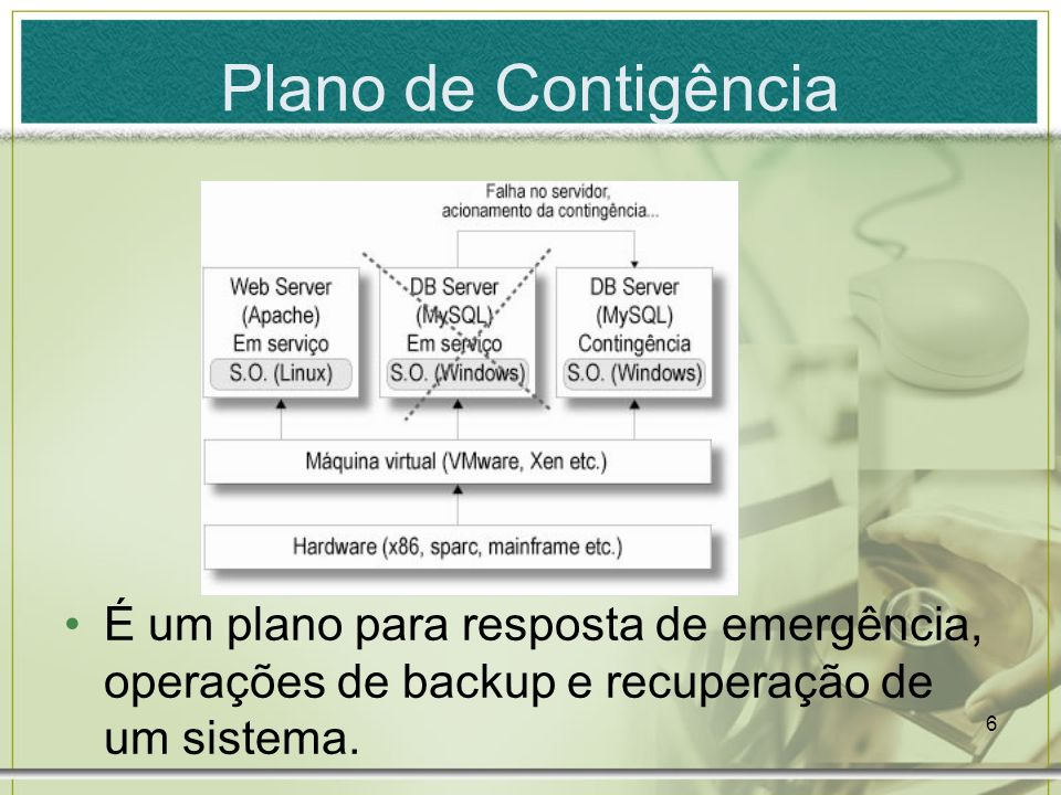 6 Plano de Contigência É um plano para resposta de emergência, operações de backup e recuperação de um sistema.