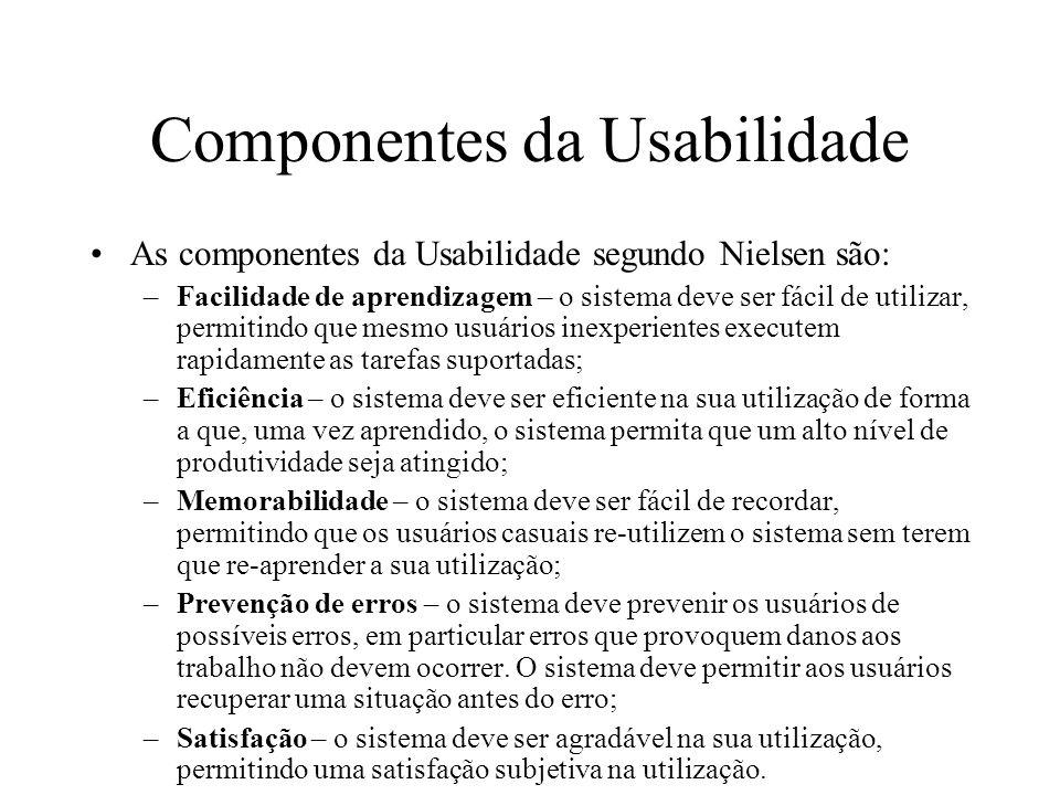 Componentes da Usabilidade As componentes da Usabilidade segundo Nielsen são: –Facilidade de aprendizagem – o sistema deve ser fácil de utilizar, perm