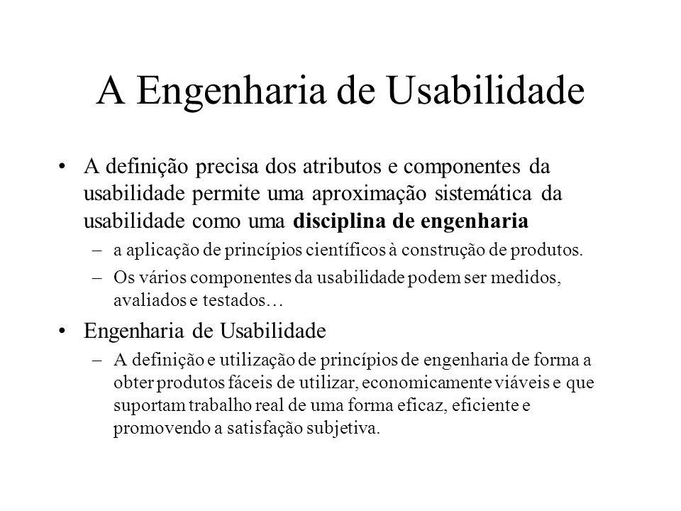 A Engenharia de Usabilidade A definição precisa dos atributos e componentes da usabilidade permite uma aproximação sistemática da usabilidade como uma