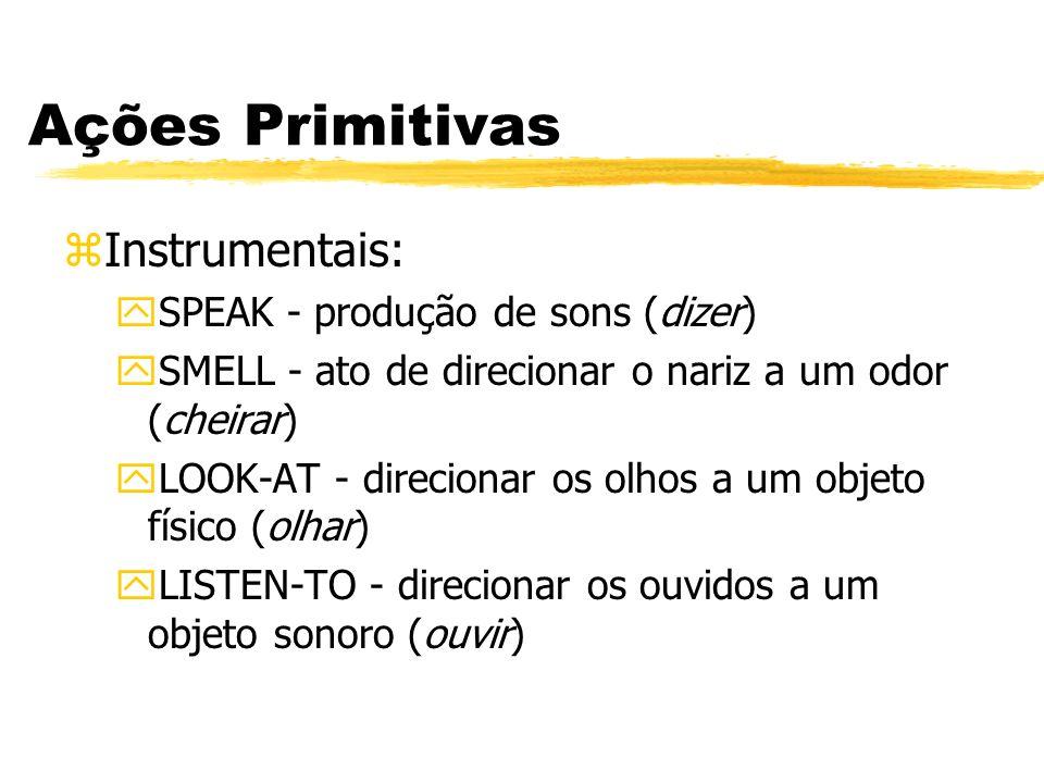 Ações Primitivas zInstrumentais: ySPEAK - produção de sons (dizer) ySMELL - ato de direcionar o nariz a um odor (cheirar) yLOOK-AT - direcionar os olh