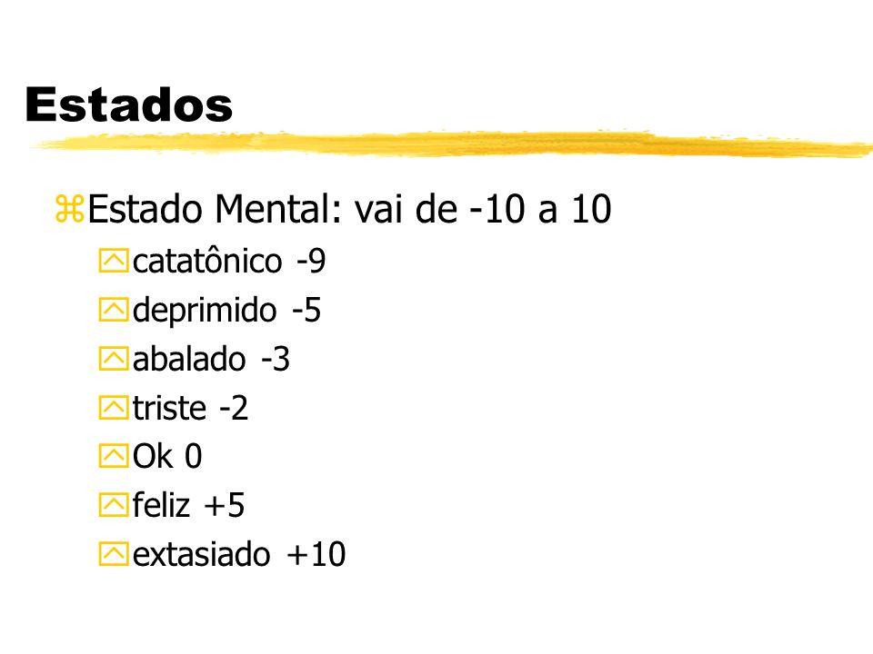 Estados zEstado Mental: vai de -10 a 10 ycatatônico -9 ydeprimido -5 yabalado -3 ytriste -2 yOk 0 yfeliz +5 yextasiado +10