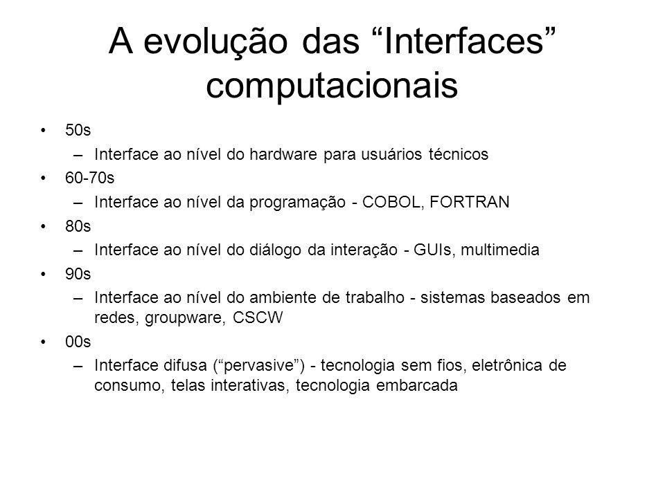 A evolução das Interfaces computacionais 50s –Interface ao nível do hardware para usuários técnicos 60-70s –Interface ao nível da programação - COBOL,