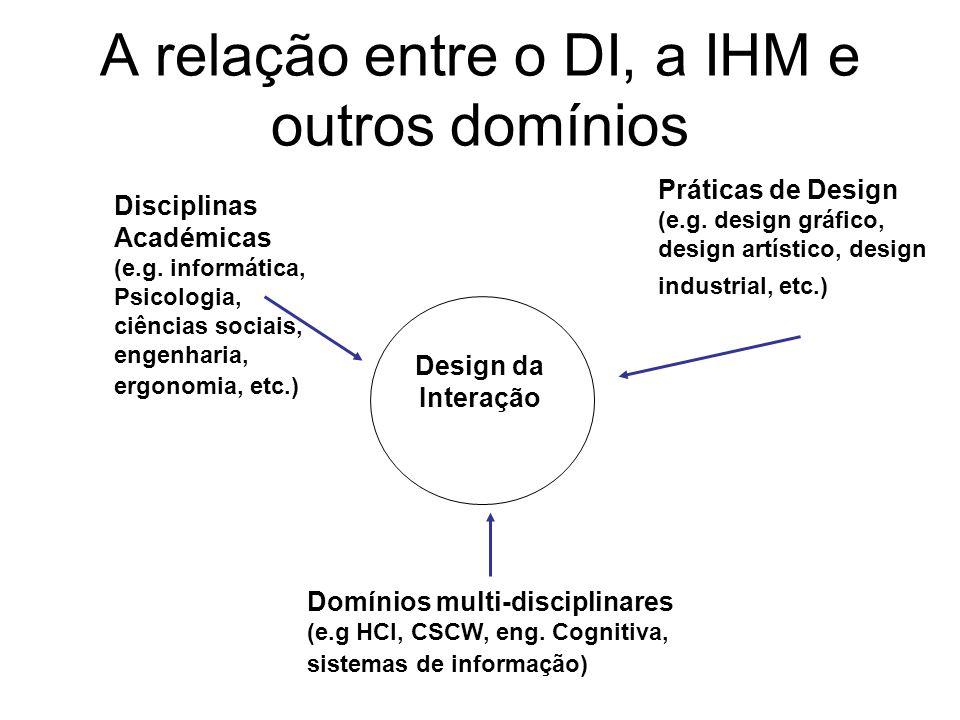 A relação entre o DI, a IHM e outros domínios Domínios multi-disciplinares (e.g HCI, CSCW, eng. Cognitiva, sistemas de informação) Práticas de Design