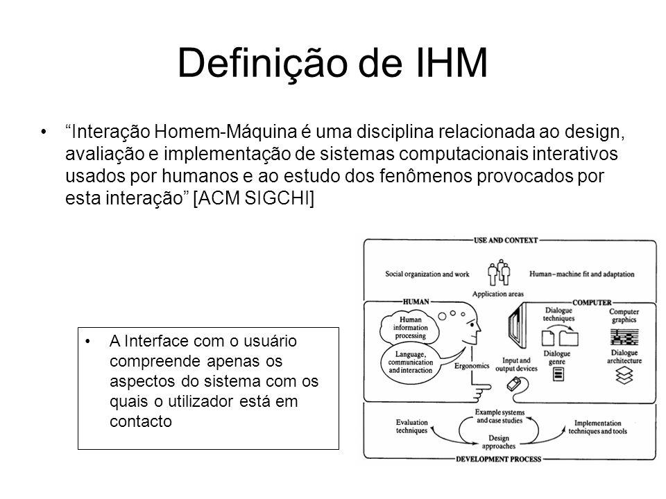 Definição de IHM Interação Homem-Máquina é uma disciplina relacionada ao design, avaliação e implementação de sistemas computacionais interativos usad