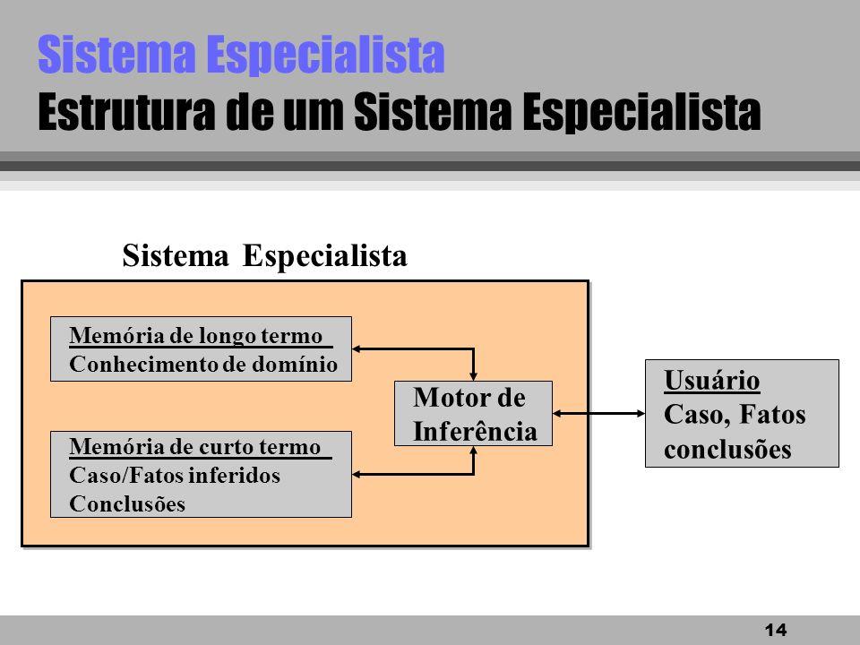 13 Sistema Especialista Estrutura de um Sistema Especialista Raciocínio Memória de longo termo Conhecimento de domínio Memória de curto termo Caso/Fat