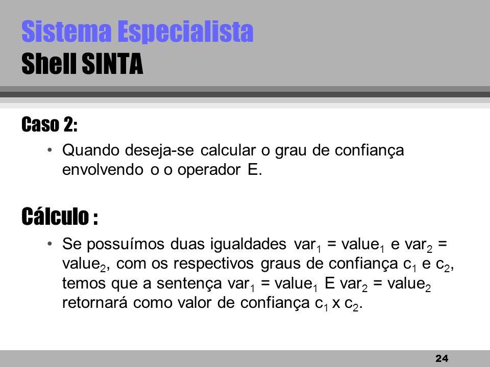 23 Sistema Especialista Shell SINTA Caso 1: exemplo continuação SE fumagina = sim ENTÃO suspeita de praga = mosca branca, grau de confiança (CNF) 70%.