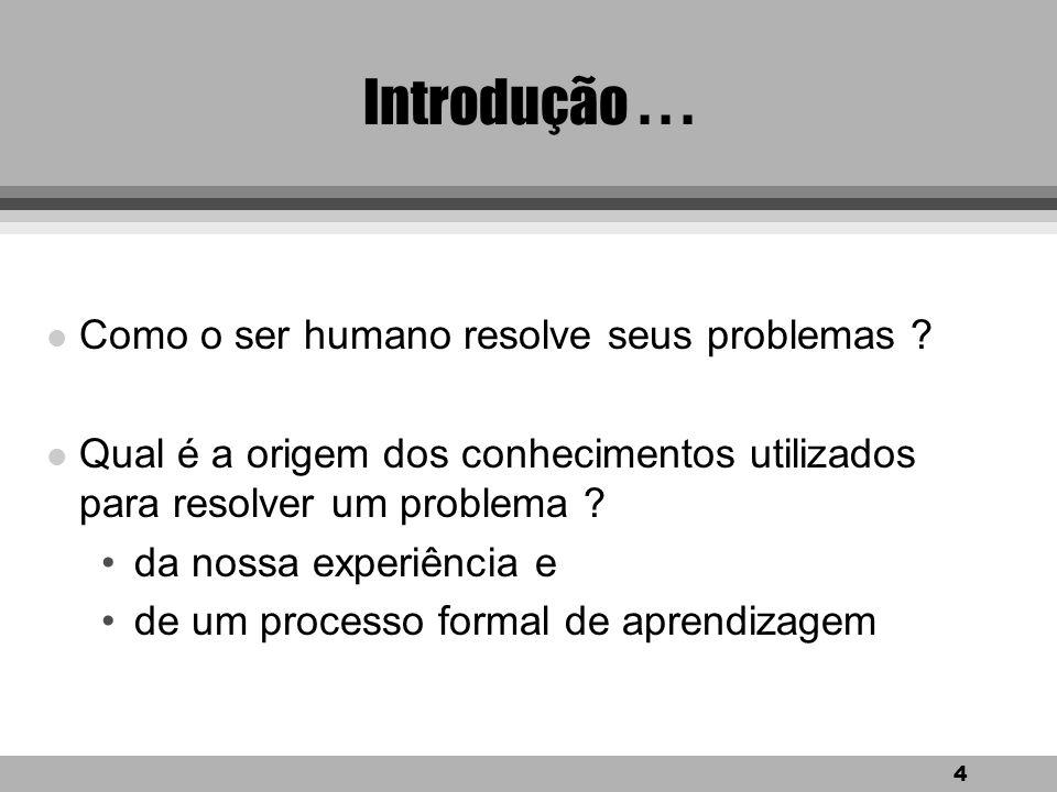 4 Introdução...l Como o ser humano resolve seus problemas .