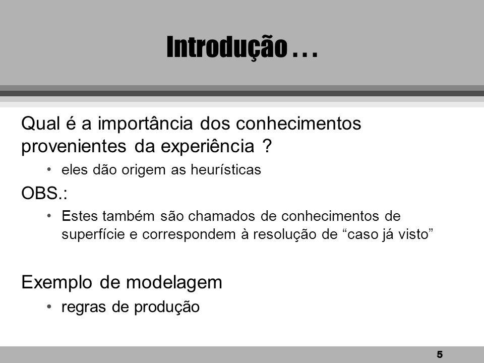 5 Introdução...Qual é a importância dos conhecimentos provenientes da experiência .