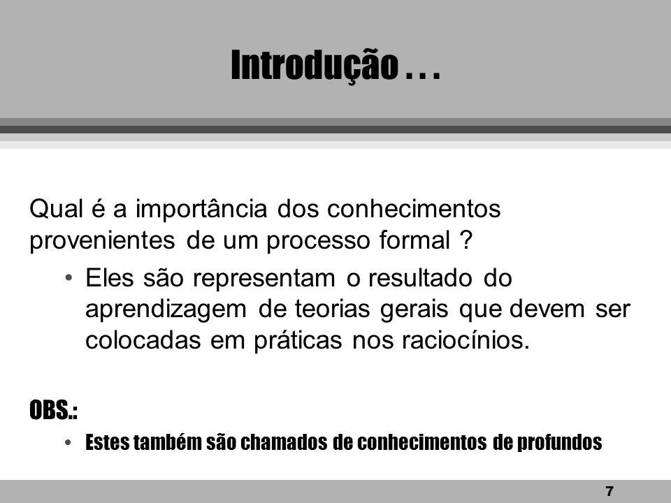 17 Sistema Especialista Memória de trabalho Definição 2.2: Memória de trabalho parte de um sistema especialista que contém os fatos do problema que são descobertos durante a sessão de consulta.
