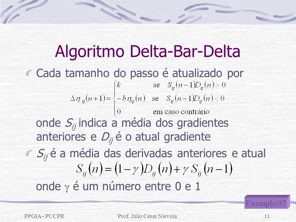 PPGIA - PUCPRProf. Júlio Cesar Nievola11 Algoritmo Delta-Bar-Delta Cada tamanho do passo é atualizado por onde S ij indica a média dos gradientes ante