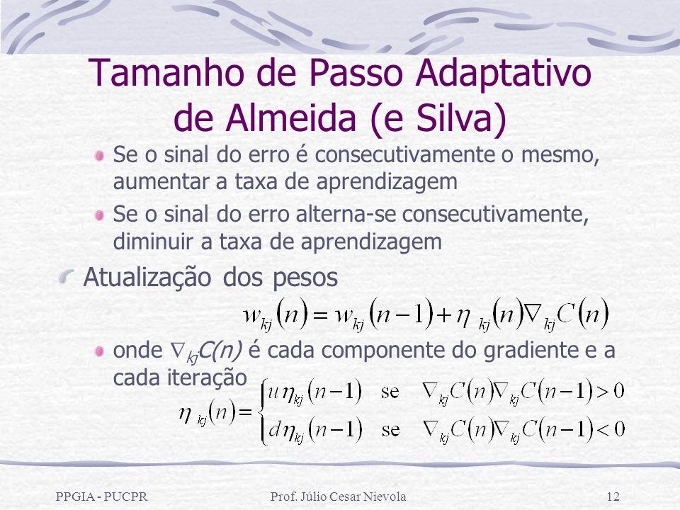 PPGIA - PUCPRProf. Júlio Cesar Nievola12 Tamanho de Passo Adaptativo de Almeida (e Silva) Se o sinal do erro é consecutivamente o mesmo, aumentar a ta
