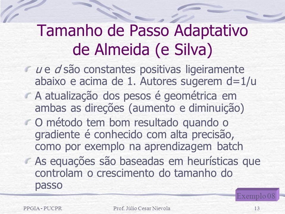 PPGIA - PUCPRProf. Júlio Cesar Nievola13 Tamanho de Passo Adaptativo de Almeida (e Silva) u e d são constantes positivas ligeiramente abaixo e acima d