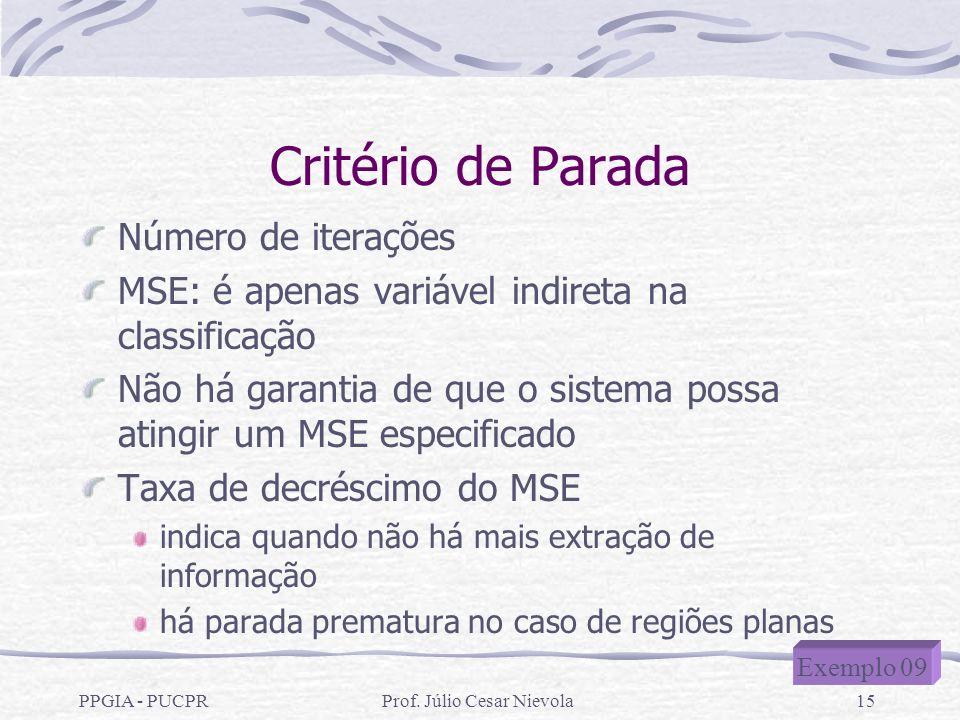 PPGIA - PUCPRProf. Júlio Cesar Nievola15 Critério de Parada Número de iterações MSE: é apenas variável indireta na classificação Não há garantia de qu