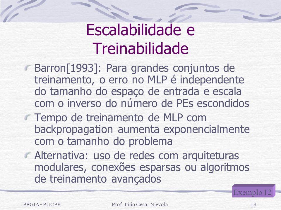 PPGIA - PUCPRProf. Júlio Cesar Nievola18 Escalabilidade e Treinabilidade Barron[1993]: Para grandes conjuntos de treinamento, o erro no MLP é independ