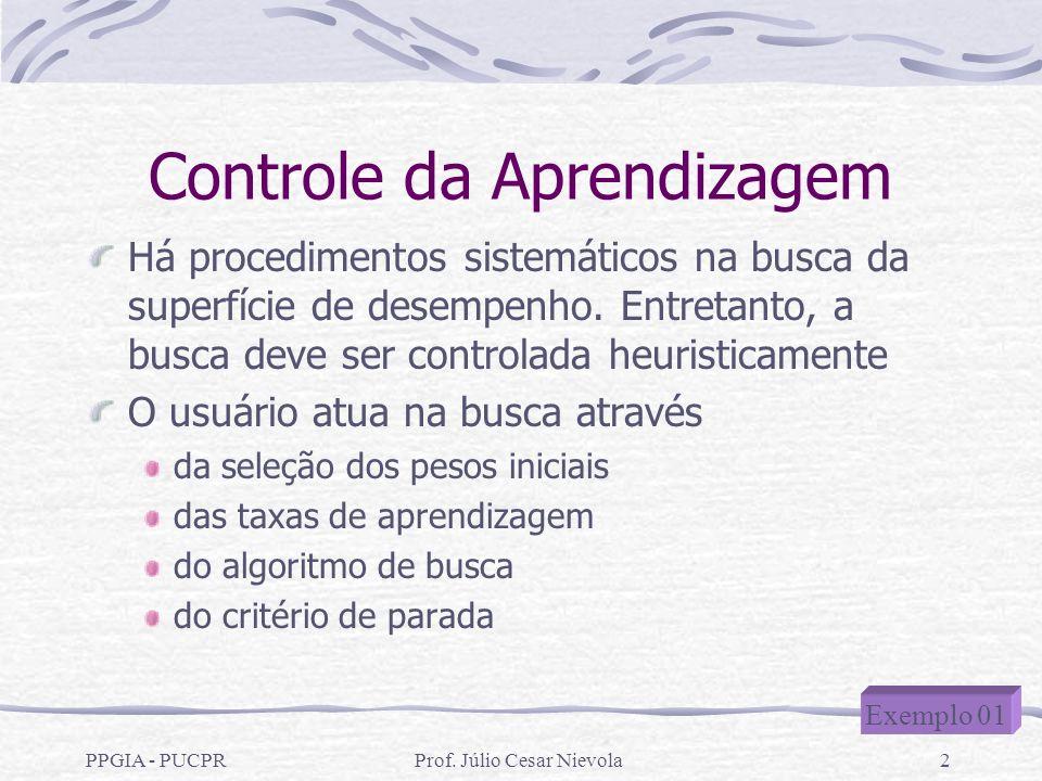 Prof. Júlio Cesar Nievola2 Controle da Aprendizagem Há procedimentos sistemáticos na busca da superfície de desempenho. Entretanto, a busca deve ser c