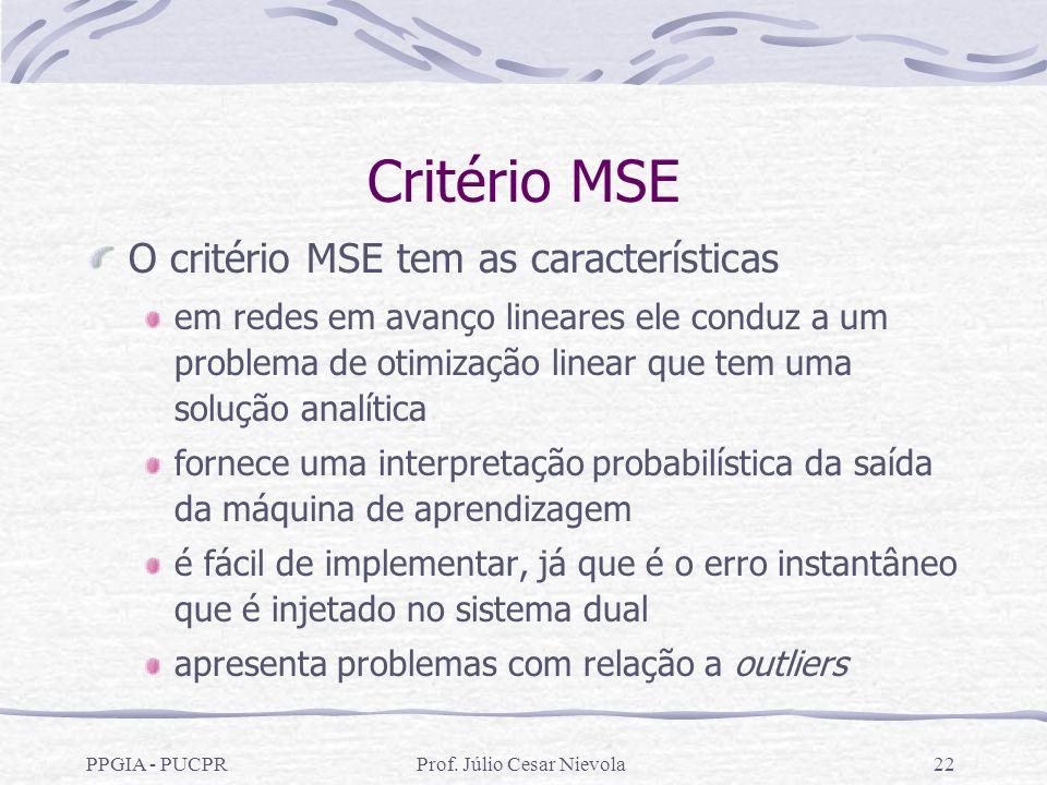 PPGIA - PUCPRProf. Júlio Cesar Nievola22 Critério MSE O critério MSE tem as características em redes em avanço lineares ele conduz a um problema de ot