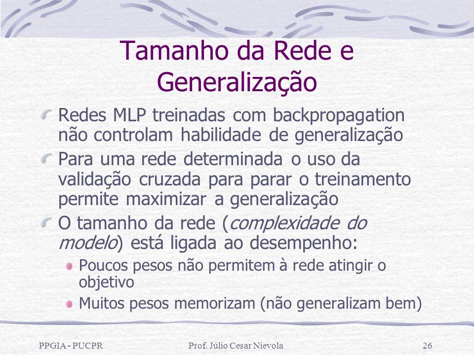 PPGIA - PUCPRProf. Júlio Cesar Nievola26 Tamanho da Rede e Generalização Redes MLP treinadas com backpropagation não controlam habilidade de generaliz