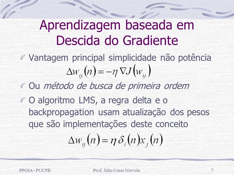 PPGIA - PUCPRProf. Júlio Cesar Nievola7 Aprendizagem baseada em Descida do Gradiente Vantagem principal simplicidade não potência Ou método de busca d