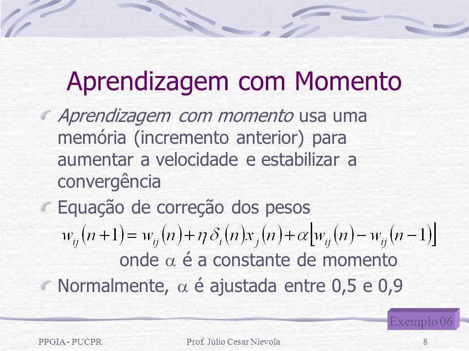 PPGIA - PUCPRProf. Júlio Cesar Nievola8 Aprendizagem com Momento Aprendizagem com momento usa uma memória (incremento anterior) para aumentar a veloci