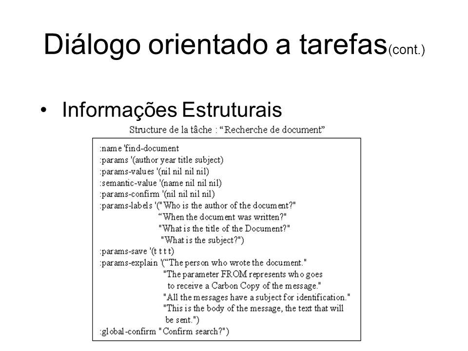 Diálogo orientado a tarefas (cont.) Informações Estruturais