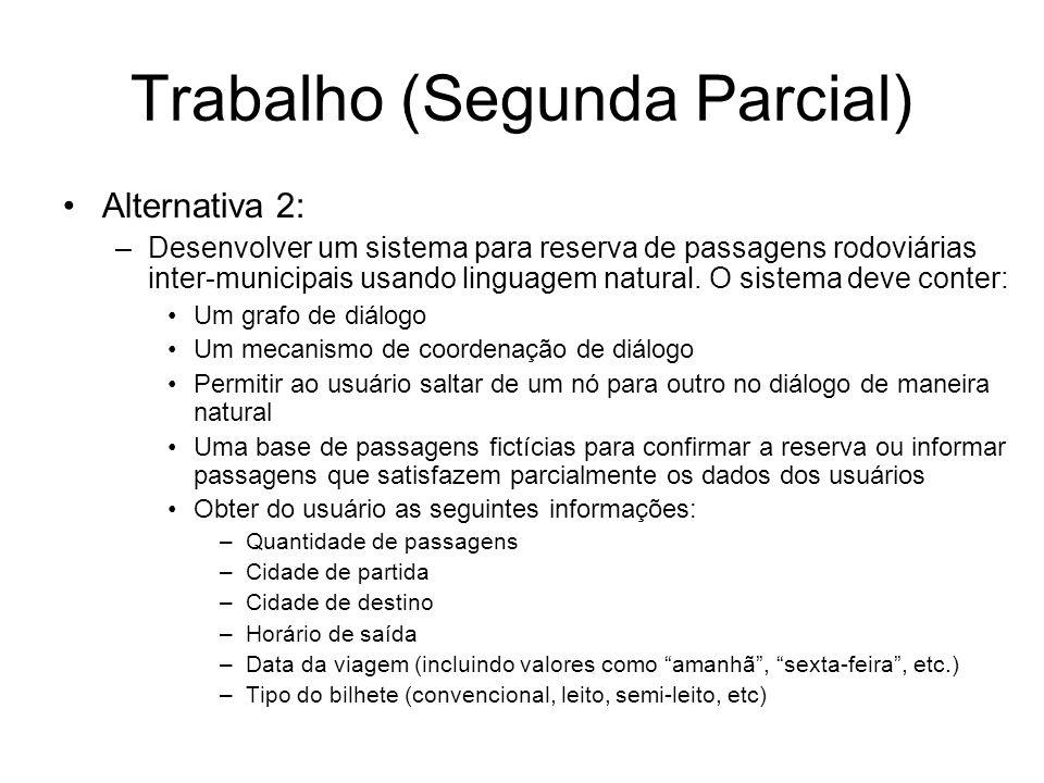 Trabalho (Segunda Parcial) Alternativa 2: –Desenvolver um sistema para reserva de passagens rodoviárias inter-municipais usando linguagem natural. O s