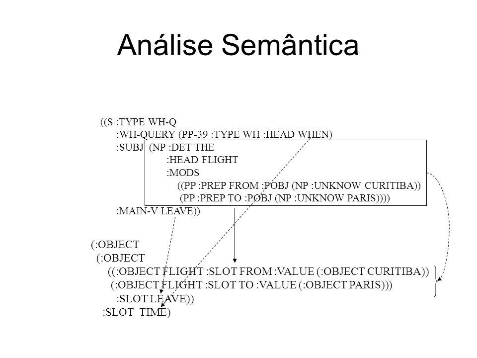 Motor de Inferência A partir da representação semântica, procura na ontologia os valores e objetos solicitados A ontologia é representada na forma de uma rede semântica (MOSS) Cada tipo de enunciado possui uma semântica bem determinada