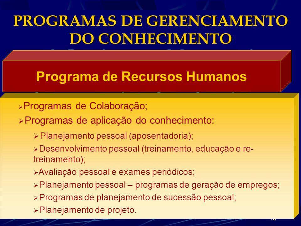 12 PROGRAMAS DE GERENCIAMENTO DO CONHECIMENTO Programa de Gerenciamento de Projetos Programas de aplicação do conhecimento: Construindo times internos