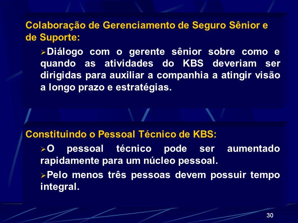 29 Desenvolva portifólios de aplicações importantes de KBS: Depois do portifólio ter sido desenvolvido e priorizado, deve ser feito uma avaliação pelo