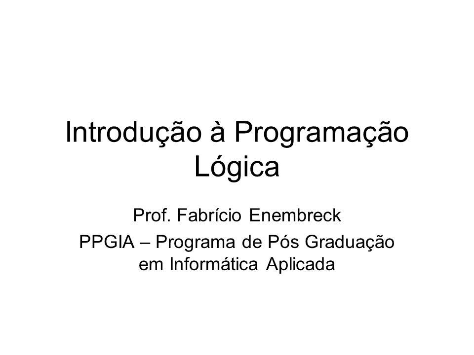 Conteúdo do Curso Introdução à Lógica e à Programação Lógica Introdução ao Prolog e ao SWI-Prolog Matching e Backtraking Múltiplas soluções Listas e predicados recursivos Grafos em Prolog
